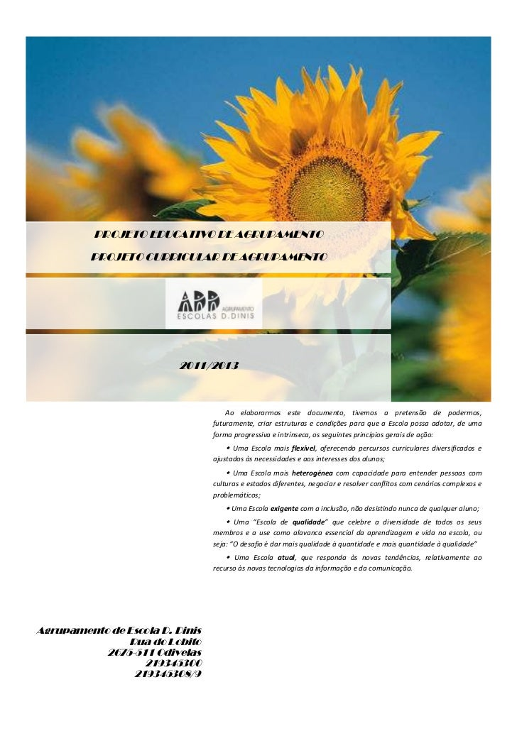 PROJETO EDUCATIVO DE AGRUPAMENTO         PROJETO CURRICULAR DE AGRUPAMENTO                          2011/2013             ...