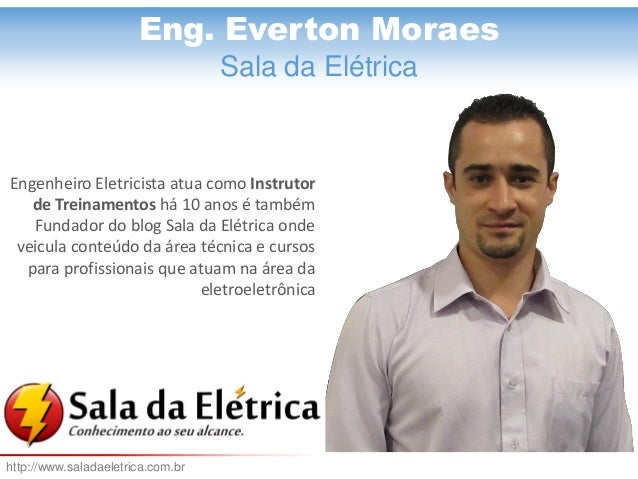 Eng. Everton Moraes  Eng. Everton Moraes  Sala da Elétrica  Engenheiro Eletricista atua como Instrutor de Treinamentos há ...