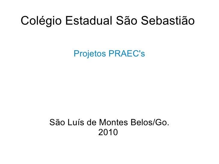 Colégio Estadual São Sebastião  Projetos PRAEC's São Luís de Montes Belos/Go. 2010