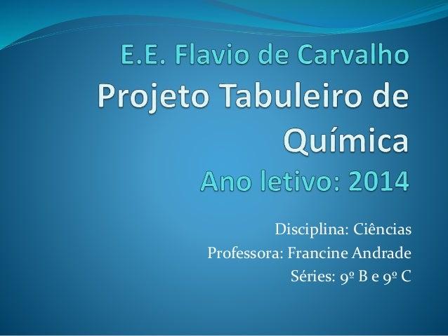 Disciplina: Ciências Professora: Francine Andrade Séries: 9º B e 9º C