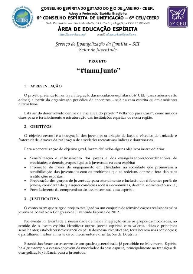 CONSELHO ESPÍRITADO ESTADO DO RIO DE JANEIRO - CEERJ Adeso à Federação Espírita Brasileira 6º CONSELHO ESPÍRITA DE UNIFICA...