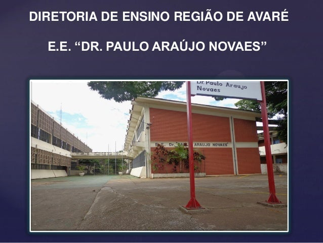 """DIRETORIA DE ENSINO REGIÃO DE AVARÉ E.E. """"DR. PAULO ARAÚJO NOVAES"""""""