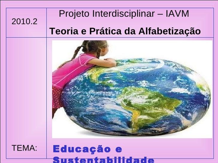 Projeto Interdisciplinar – IAVM Teoria e Prática da Alfabetização 2010.2 TEMA: Educação e Sustentabilidade