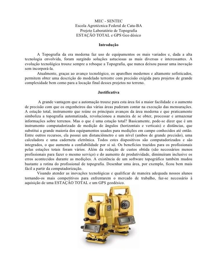MEC - SENTEC                              Escola Agrotécnica Federal de Catu-BA                                Projeto Lab...