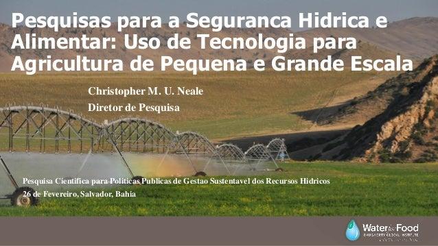 Pesquisas para a Seguranca Hidrica e Alimentar: Uso de Tecnologia para Agricultura de Pequena e Grande Escala Christopher ...