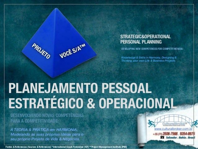 PROJETO  VOCÊ S/A™  STRATEGIC&OPERATIONAL  PERSONAL PLANNING  DEVELOPING NEW COMPETENCES FOR COMPETITIVENESS:  Knowledge &...