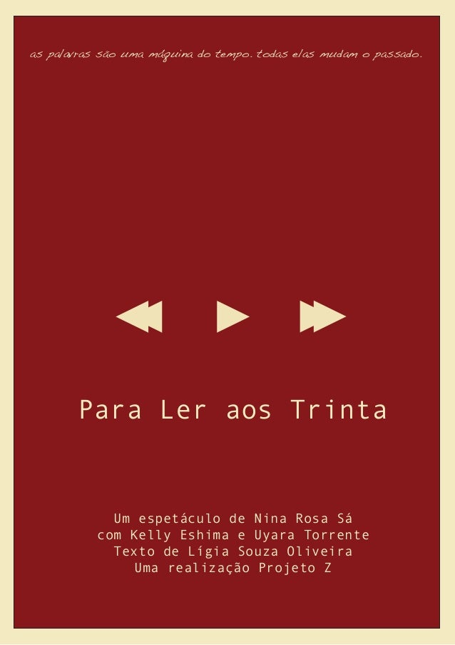 as palavras são uma máquina do tempo. todas elas mudam o passado. Para Ler aos Trinta Um espetáculo de Nina Rosa Sá com Ke...