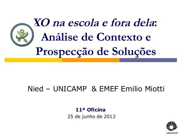 XO na escola e fora dela:  Análise de Contexto e Prospecção de SoluçõesNied – UNICAMP & EMEF Emilio Miotti             11ª...