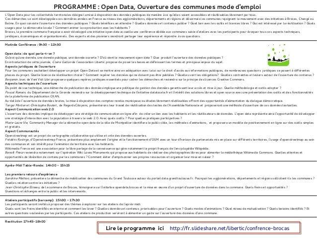 PROGRAMME: Open Data, Ouverture des communes mode demploiLOpen Data pour les collectivités territoriales désigne la mise ...