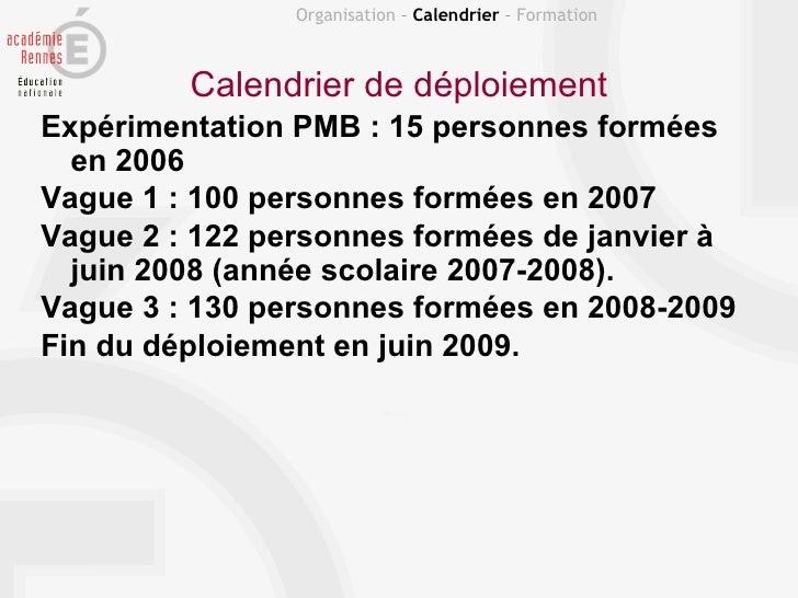 Organisation – Calendrier – Formation         Calendrier de déploiementExpérimentation PMB : 15 personnes formées  en 2006...