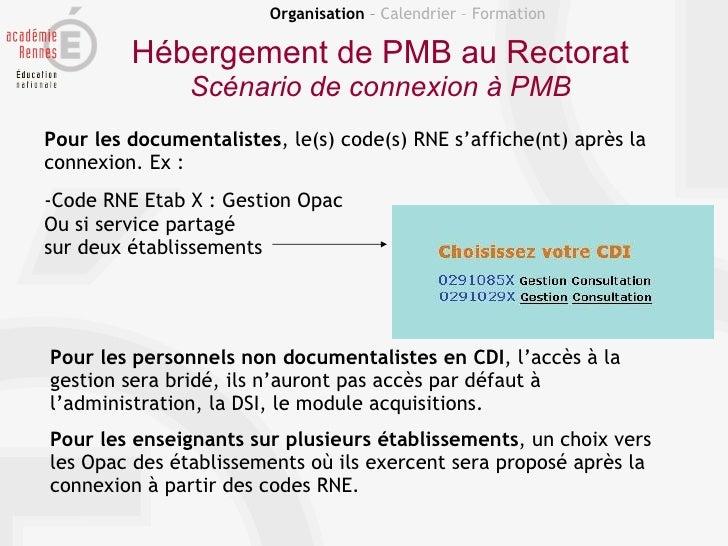 Organisation – Calendrier – Formation         Hébergement de PMB au Rectorat               Scénario de connexion à PMBPour...