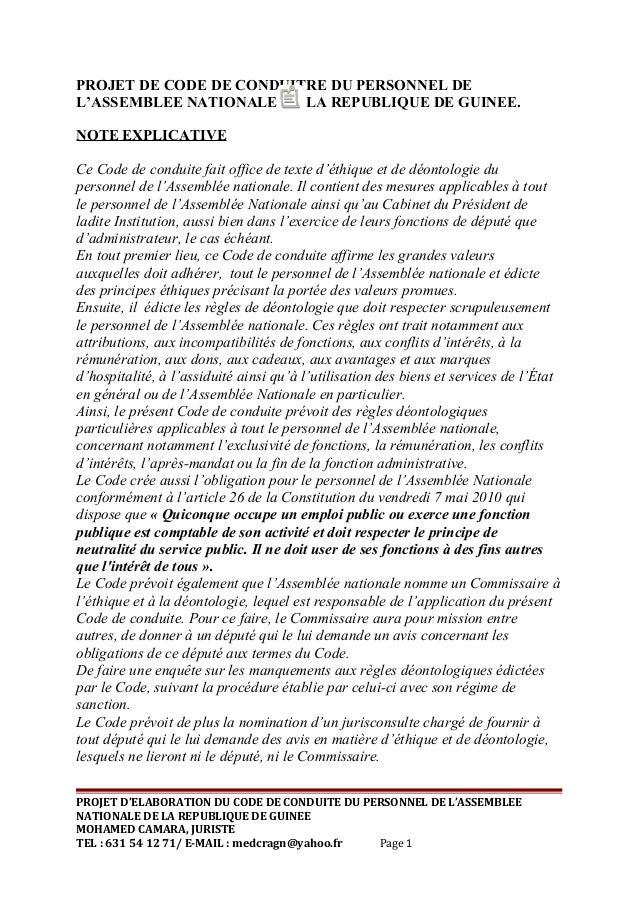 PROJET DE CODE DE CONDUITRE DU PERSONNEL DE L'ASSEMBLEE NATIONALE DE LA REPUBLIQUE DE GUINEE. NOTE EXPLICATIVE Ce Code de ...