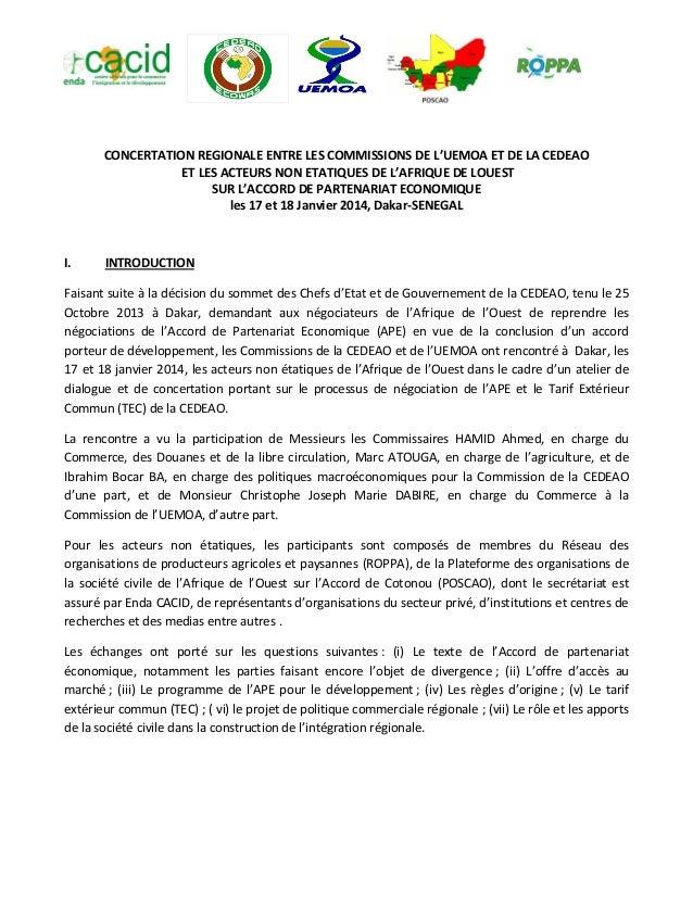 CONCERTATION REGIONALE ENTRE LES COMMISSIONS DE L'UEMOA ET DE LA CEDEAO ET LES ACTEURS NON ETATIQUES DE L'AFRIQUE DE LOUES...