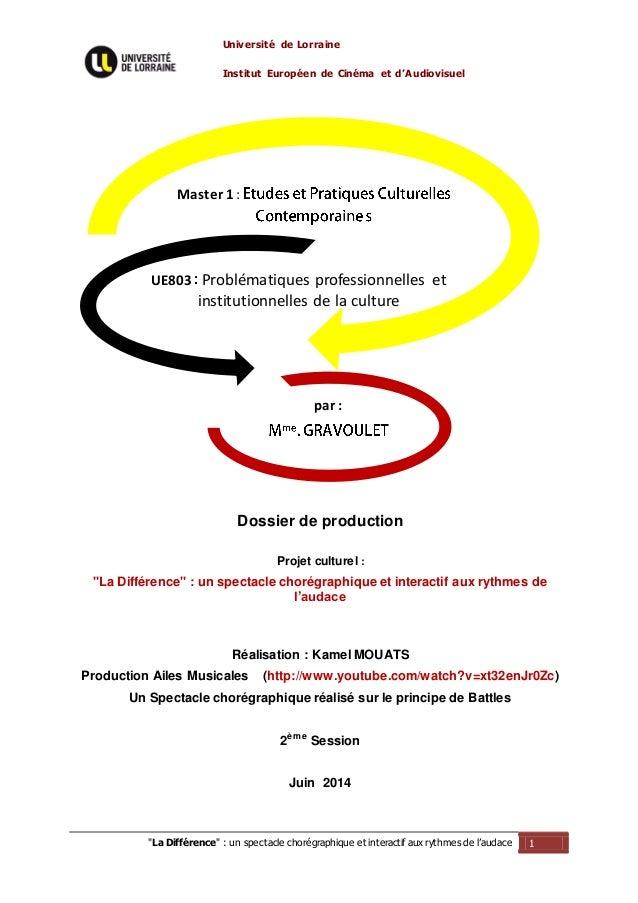 """Université de Lorraine Institut Européen de Cinéma et d'Audiovisuel """"La Différence"""" : un spectacle chorégraphique et inter..."""