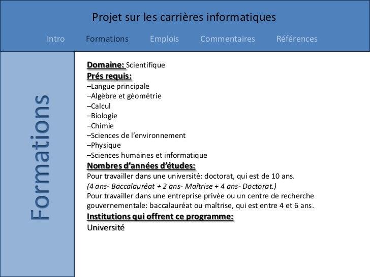 Projet sur les carrières informatiquesIntro   Formations        Emplois        Commentaires           Références        Do...