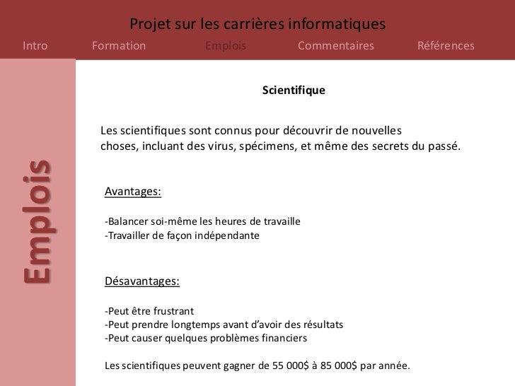 Projet sur les carrières informatiquesIntro     Formation              Emplois             Commentaires              Référ...