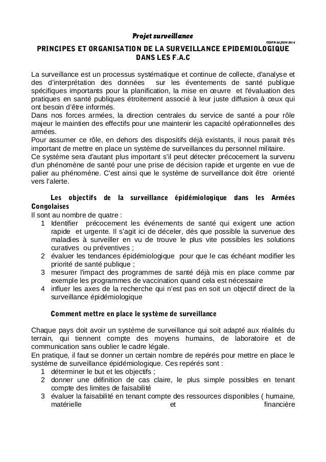 Projet surveillance CESPA 24 JIUN 2014 PRINCIPES ET ORGANISATION DE LA SURVEILLANCE EPIDEMIOLOGIQUE DANS LES F.A.C La surv...