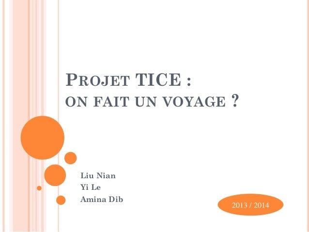 PROJET TICE : ON FAIT UN VOYAGE  ?  Liu Nian Yi Le Amina Dib  2013 / 2014