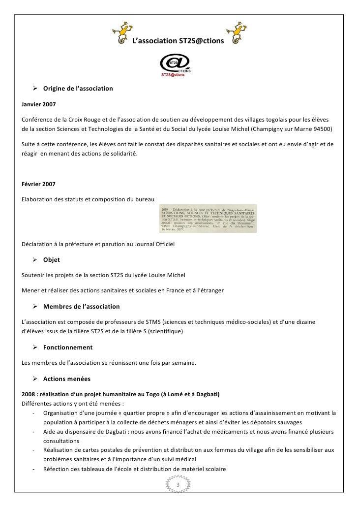 L'association ST2S@ctions     Origine de l'associationJanvier 2007Conférence de la Croix Rouge et de l'association de sou...
