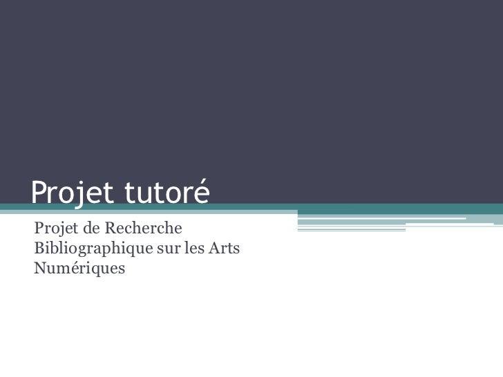 Projet tutoréProjet de RechercheBibliographique sur les ArtsNumériques