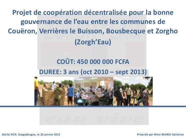 Projet de coopération décentralisée pour la bonne       gouvernance de l'eau entre les communes de    Couëron, Verrières l...
