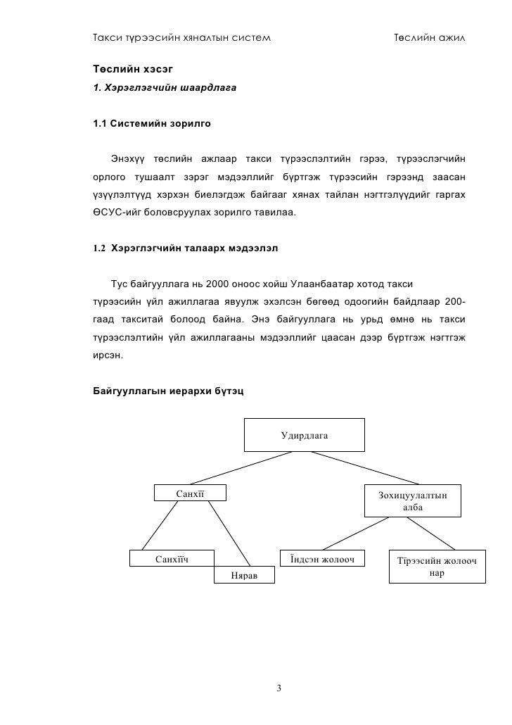 Такси түрээсийн хяналтын систем                          Төслийн ажил   Төслийн хэсэг 1. Хэрэглэгчийн шаардлага   1.1 Сист...