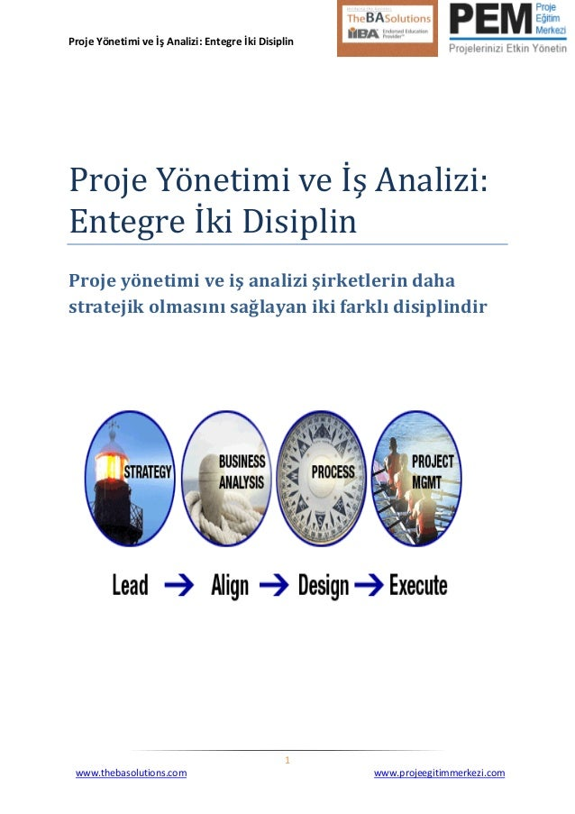 Proje Yönetimi ve İş Analizi: Entegre İki Disiplin  1  www.thebasolutions.com www.projeegitimmerkezi.com  Proje Yönetimi v...