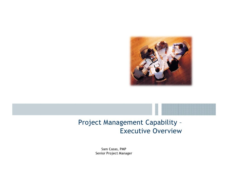 Project Management Capability –             Executive Overview          Sam Casas, PMP      Senior Project Manager