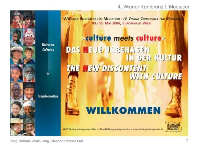 4. Wiener Konferenz f. Mediation  Mag. Barbara Wurz / Mag. Stephan Proksch MAS  1