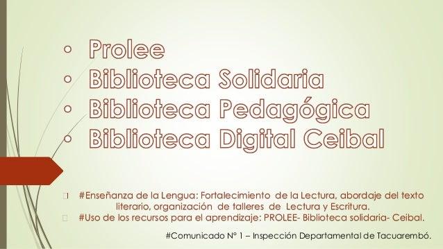 #Enseñanza de la Lengua: Fortalecimiento de la Lectura, abordaje del texto literario, organización de talleres de Lectura ...