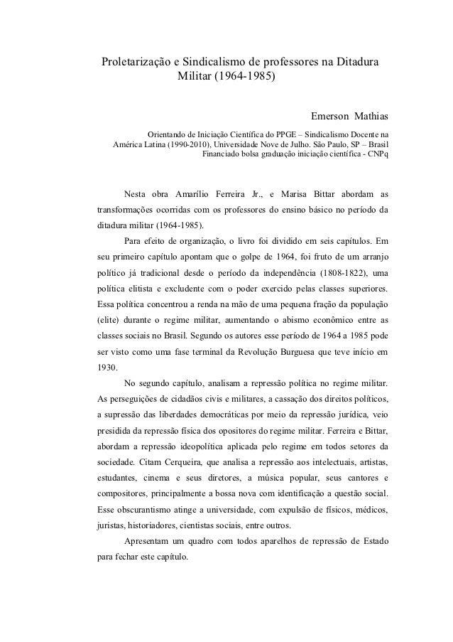 Proletarização e Sindicalismo de professores na Ditadura                 Militar (1964-1985)                              ...