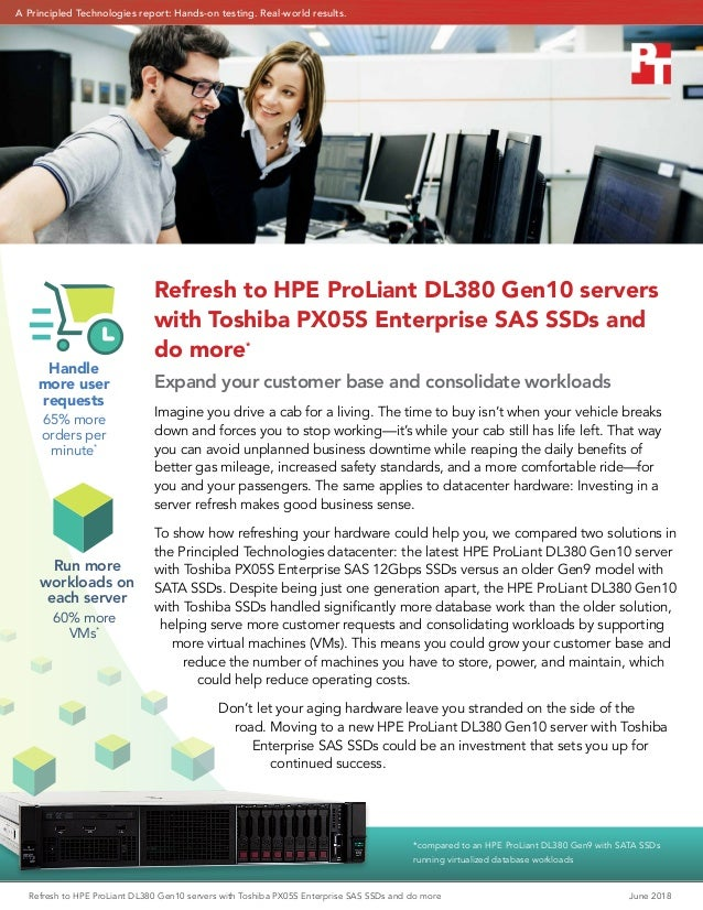 Refresh to HPE ProLiant DL380 Gen10 servers with Toshiba