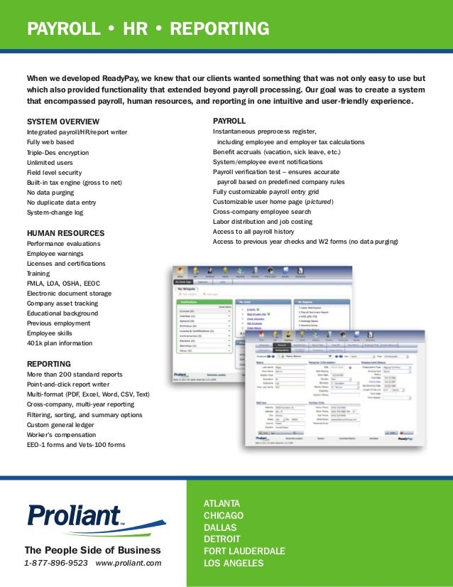 Payroll Human Resources And Reporting By Proliant