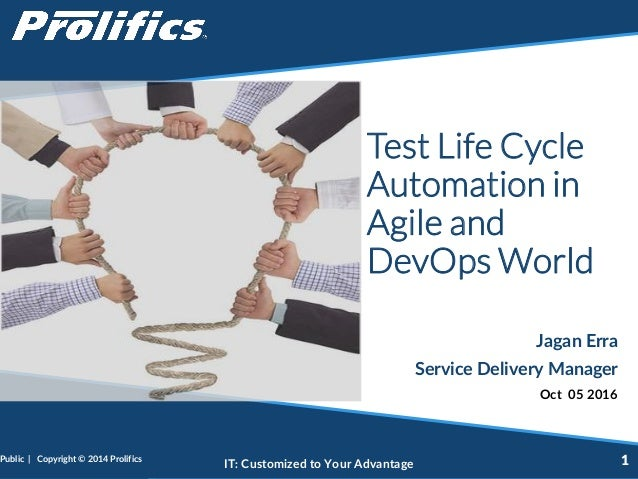 CONNECT WITH US: IT: Customized to Your Advantage Test Life Cycle Automation in Agile and DevOps World Jagan Erra Service ...