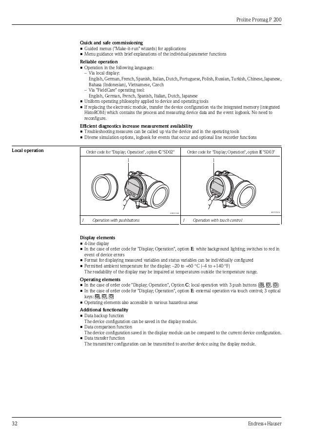 Proline Promag P200-Electromagnetic Flowmeter