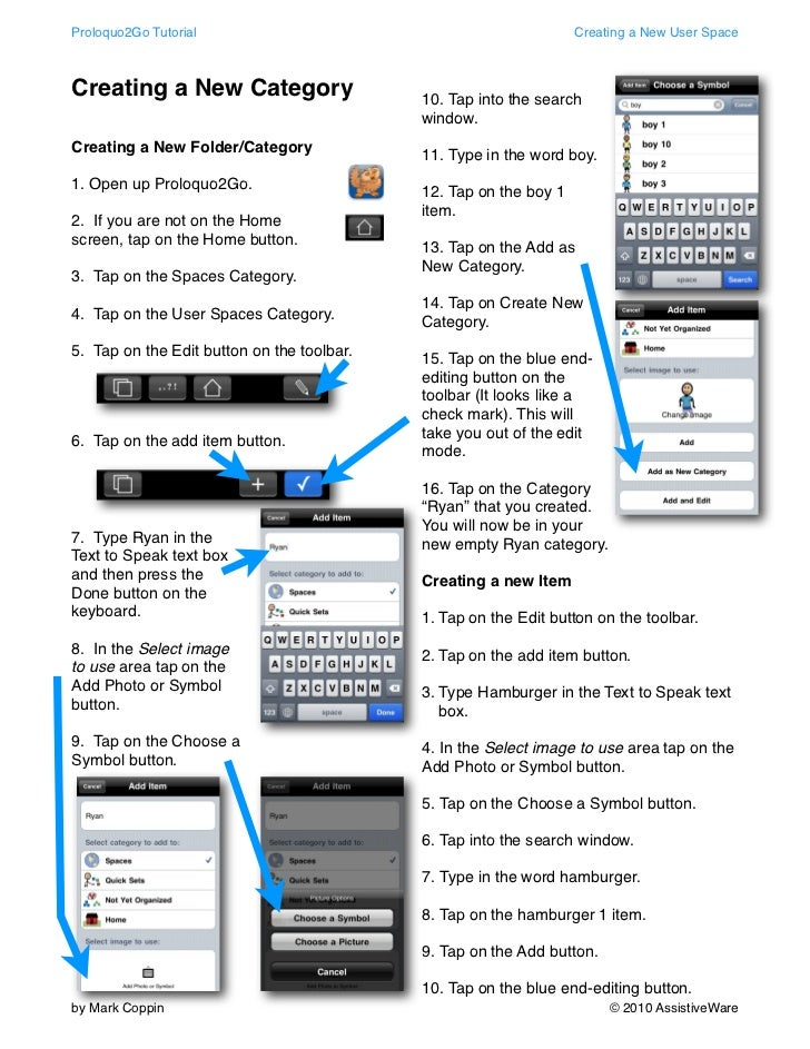 Proloquo2Go Tutorial                                              Creating a New User SpaceCreating a New Category        ...