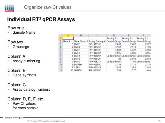PCR Array Data Analysis Tutorial qPCR Technology Webinar Series Part – Data Analysis Template