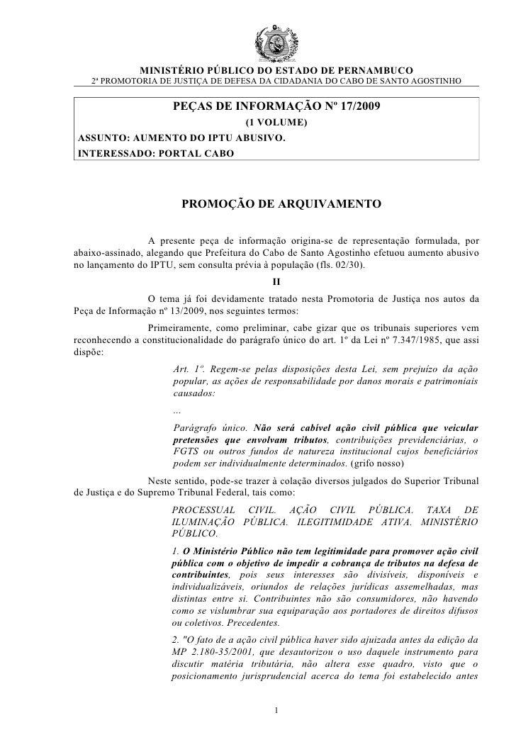 MINISTÉRIO PÚBLICO DO ESTADO DE PERNAMBUCO     2ª PROMOTORIA DE JUSTIÇA DE DEFESA DA CIDADANIA DO CABO DE SANTO AGOSTINHO ...