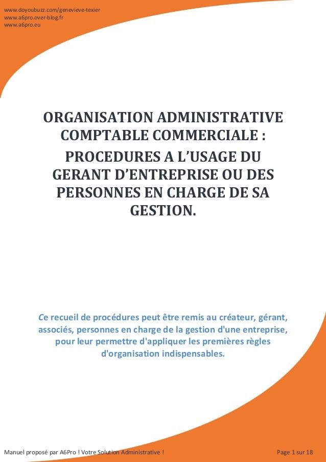 Page 1 sur 18 ORGANISATION ADMINISTRATIVE COMPTABLE COMMERCIALE : PROCEDURES A L'USAGE DU GERANT D'ENTREPRISE OU DES PERSO...