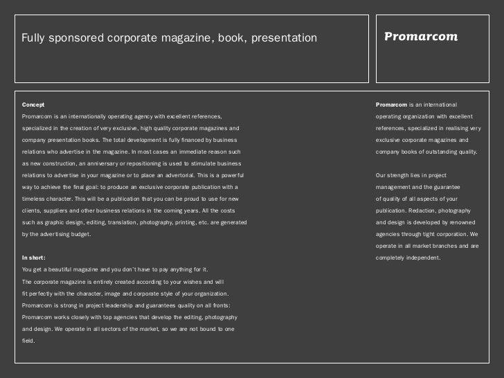 Fully sponsored corporate magazine, book, presentationConcept                                                             ...
