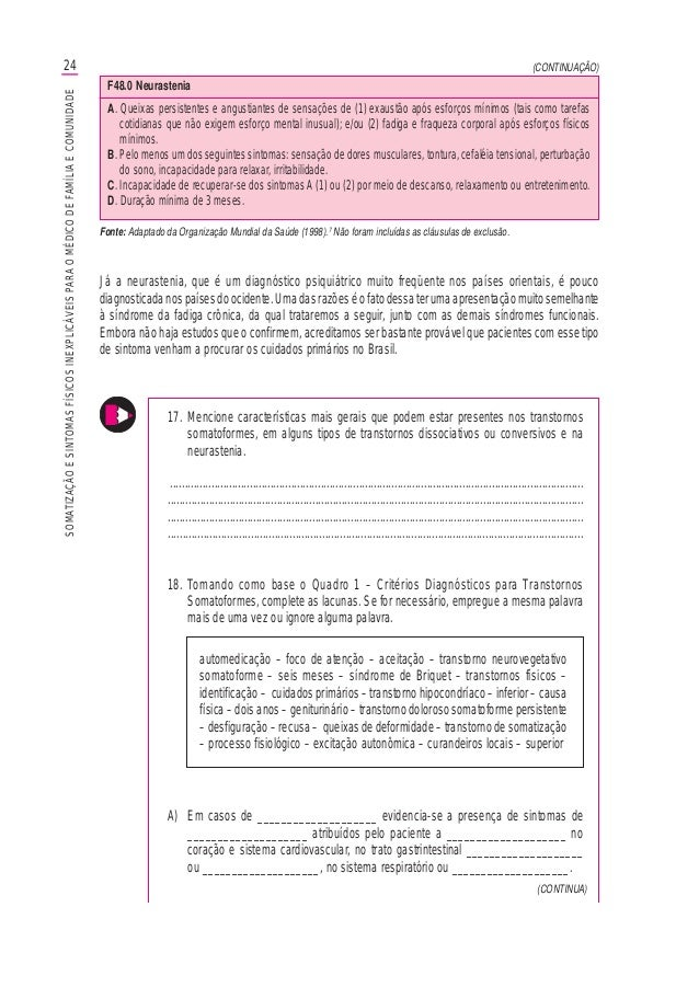 24SOMATIZAÇÃOESINTOMASFÍSICOSINEXPLICÁVEISPARAOMÉDICODEFAMÍLIAECOMUNIDADE (CONTINUA) (CONTINUAÇÃO) Fonte: Adaptado da Orga...