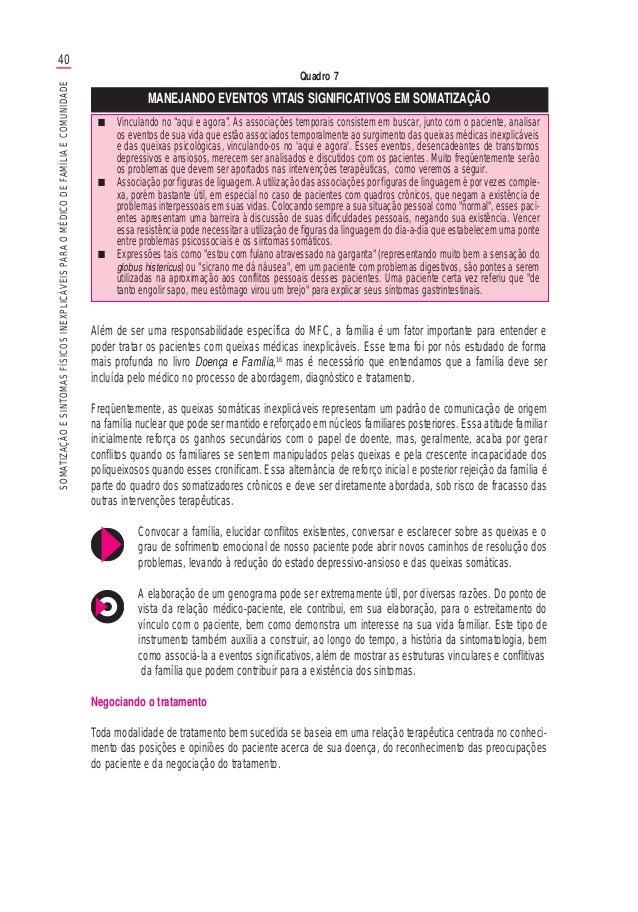 40SOMATIZAÇÃOESINTOMASFÍSICOSINEXPLICÁVEISPARAOMÉDICODEFAMÍLIAECOMUNIDADE Quadro 7 MANEJANDO EVENTOS VITAIS SIGNIFICATIVOS...