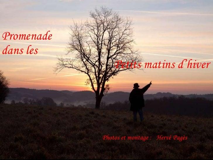 <ul><li>Images et montage:  </li></ul><ul><li>Hervé Pagès </li></ul>Promenade   dans les     Petits matins d'hiver    Phot...