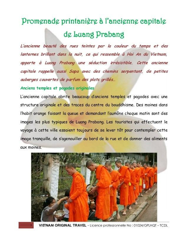 Promenade printanière à l'ancienne capitale de Luang Prabang L'ancienne beauté des rues teintes par la couleur du temps et...