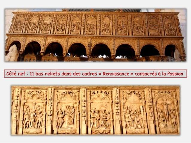 Côté chœur : 11 bas-reliefs dans des cadres « Gothique » consacrés à la Vierge