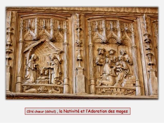 Côté chœur (détail) : le sacrifice de Joachin refusé par le prêtre, la rencontre à la porte dorée, la présentation de la V...