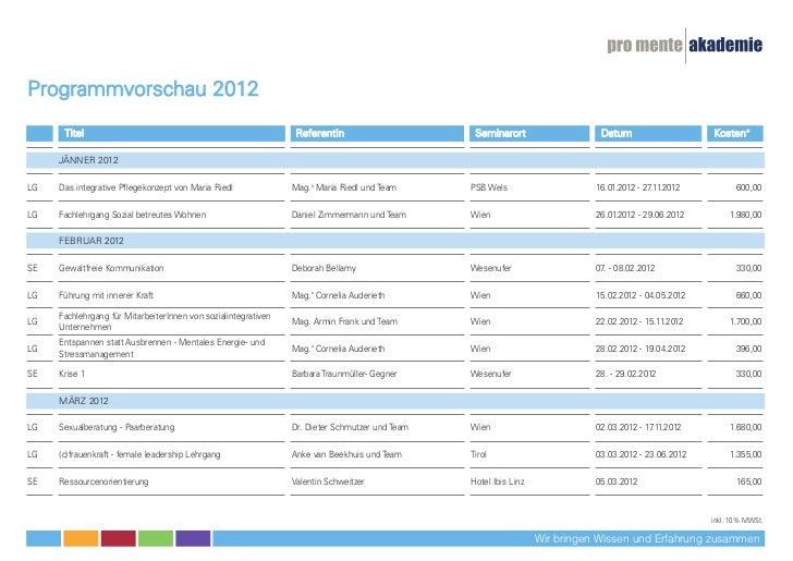 Programmvorschau 2012      Titel                                                      ReferentIn                      Semi...