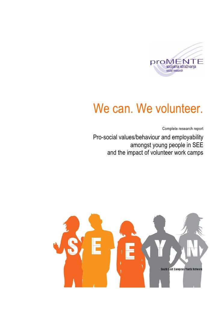 We can. We volunteer.                             Complete research report  Pro-social values/behaviour and employability ...