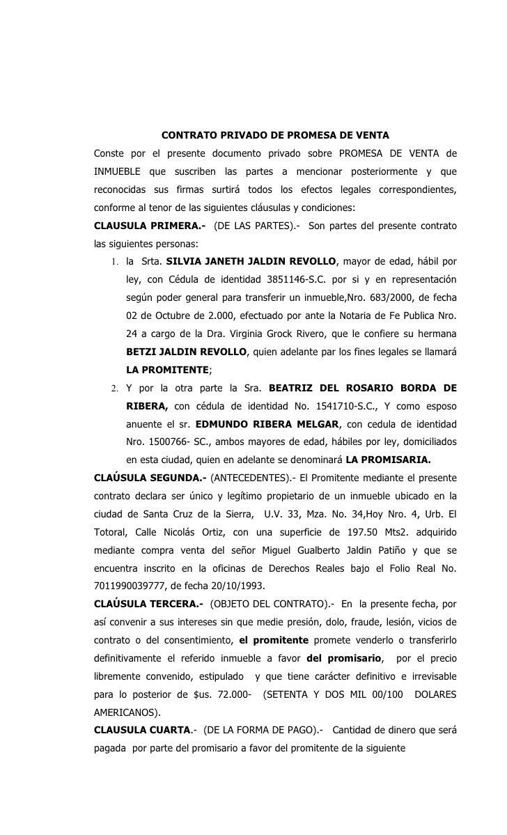 Promesa de venta de silvia jaldin for Contrato documento