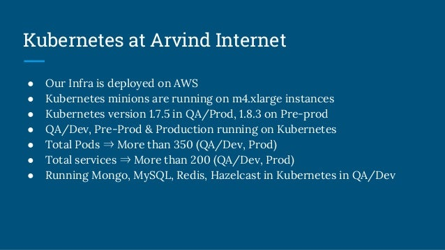 Kubernetes at Arvind Internet ● Our Infra is deployed on AWS ● Kubernetes minions are running on m4.xlarge instances ● Kub...